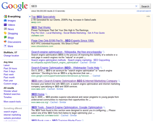 Search engine result page SEO 2011