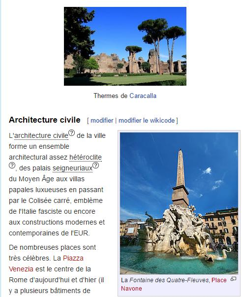 Page Web qui parle de Rome